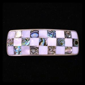 Mother of Pearl and Abalone shell hair clip